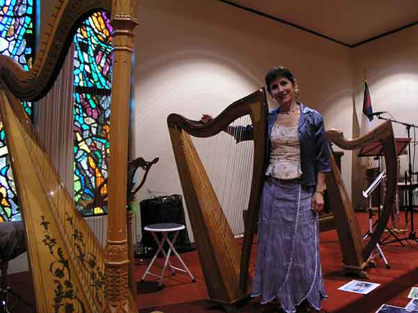 Stephanie Bennett with harps at Celtic concert