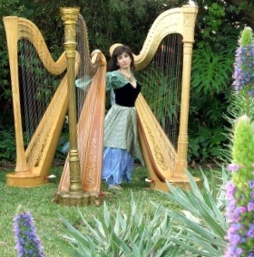 Stephanie with three pedal harps