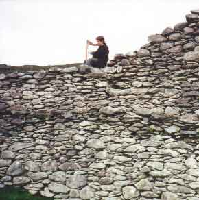 Stephanie sits atop Staigue Fort