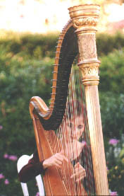 Stephanie with antique golden harp