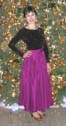 fuscia skirt and bronze sparkly top