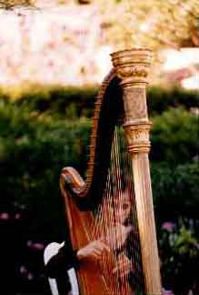 Stephanie Bennett plays harp at a wedding.